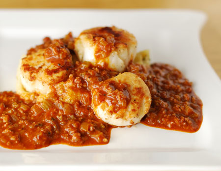 Scallops with Chorizo Ragu