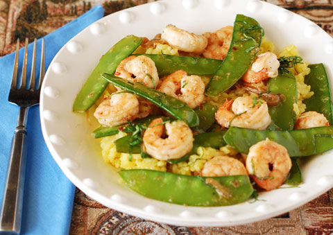 Spicy Shrimp with Sugar Snap Peas and Curried Rice